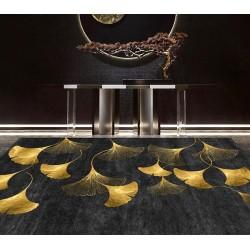 Tapis laine mural et sol style japonais - Feuilles dorées de Ginkgo Biloba sur fond noir