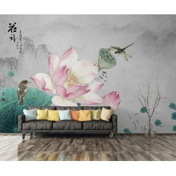 Fleur zen sur fond gris - Lotus rose, libellule, oiseau et poissons