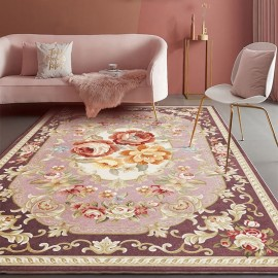 Tapis fleur ton rose style classique forme rectangulaire, ambiance printanière