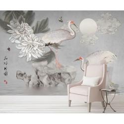 Fresque chinoise fleurs et oiseaux ton gris - Aigrettes, pivoine et papillons dans la nuit en pleine lune