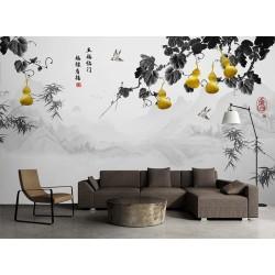 Paysage asiatique niveau de gris, plante grimpante de coucourdes dorés avec bambous et oiseaux