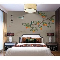 La joie d'automne - Arbre de kaki avec fruits oranges, oiseaux verts à longue queue, fond beige sépia