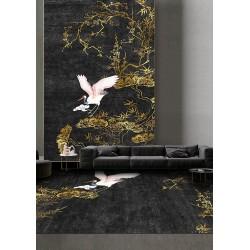 Tapis japonais noir et or - Grue du Japon, fleur de mei, bambou et pin en forme de bonsaï