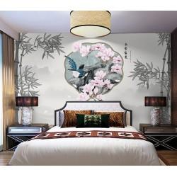 Tête de lit chinoiserie - Paysage et bambous niveau de gris, magnolia rose et oiseau bleu