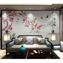 Paysage asiatique style compagne - Pommier et oiseaux sur fond girs