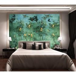 Tapisserie vintage ton vert style compagne - Arbre fruitier et oiseaux, format horizontal