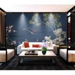 Oiseaux paille en queue, fleur de mei, orchidée, bambou et chrysanthème sur fond bleu foncé