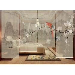 Cloison japonaise fleurs et oiseaux - Paysage avec magnolia blanc et perroquet arc-en-ciel, fond beige