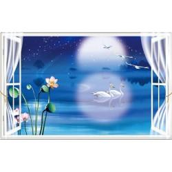 Papier peint 3D paysage fantaisie - La nuit bleue