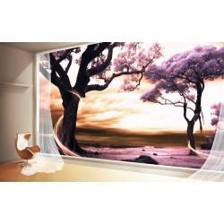Papier peint 3D paysage fantaisie arbre violet - Extension d'espace