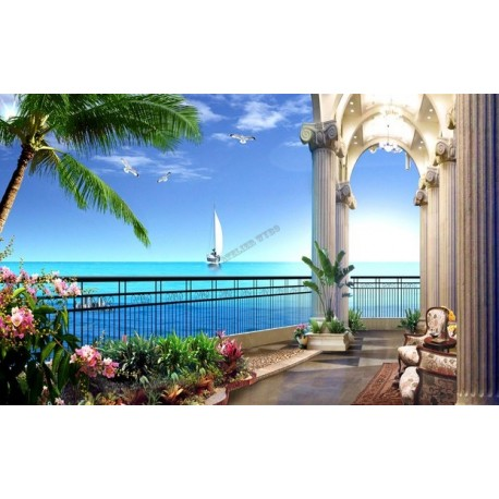 papier peint photo personnalis trompe l 39 oeil 3d paysage romantique vue mer depuis balcon. Black Bedroom Furniture Sets. Home Design Ideas