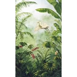 Tapisserie tropicale issue d'un tableau d'artiste, format vertical - Aigrette s'envole dans la jungle