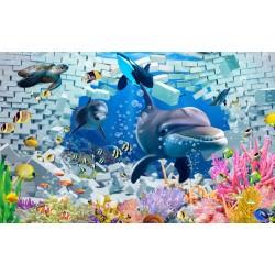 Paysage fond marin trompe l'oeil effet 3D - Dauphins sortent du mur