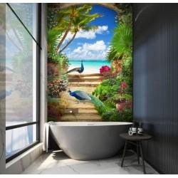 Décoration salle de bain moderne, panneau 3D étanche paysage tropical - Couple de paons bleus dans le jardin au bord de la mer