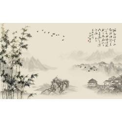 Papier peint chinois - Paysage avec les bambous et le poème