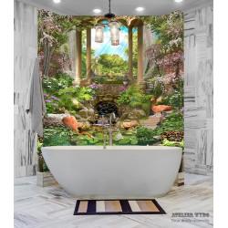 Panneau PVC décoratif ambiance tropicale - Flamants roses dans jardin exotique