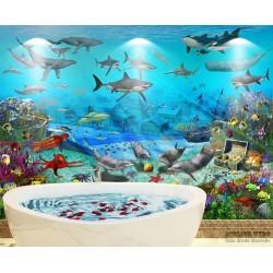 Mur de baignoire étanche - Ville engloutie, animaux marins et trésor perdu