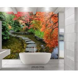 Panneau 3D salle de bain effet de profondeur - Paysage trompe l'œil jardin japonais zen