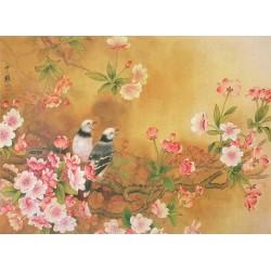 Papier peint asiatique - Les fleurs de cerisier et les oiseaux, aspect ancien