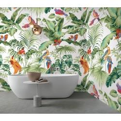 Salle de bain ambiance tropicale - Bananier, palmier et oiseaux exotiques sur fond blanc