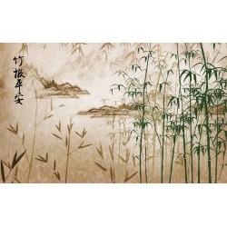Papier peint asiatique - Paysage avec les bambous, aspect ancien
