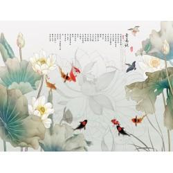 """Papier peint chinois - Les lotus et les carpes dans l'étang avec le poème """"Déclaration d'amour aux lotus"""""""