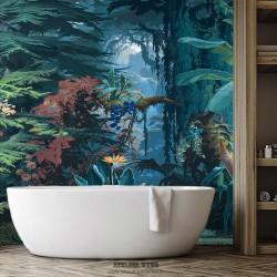 Fresque murale étanche salle de bain - Dans la forêt profonde de la jungle