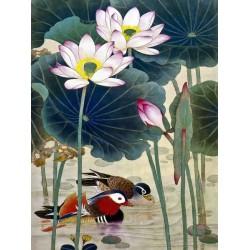 Tapisserie murale style chinois - Les canards mandarins dans l'étang avec les lotus - L'amour éternel