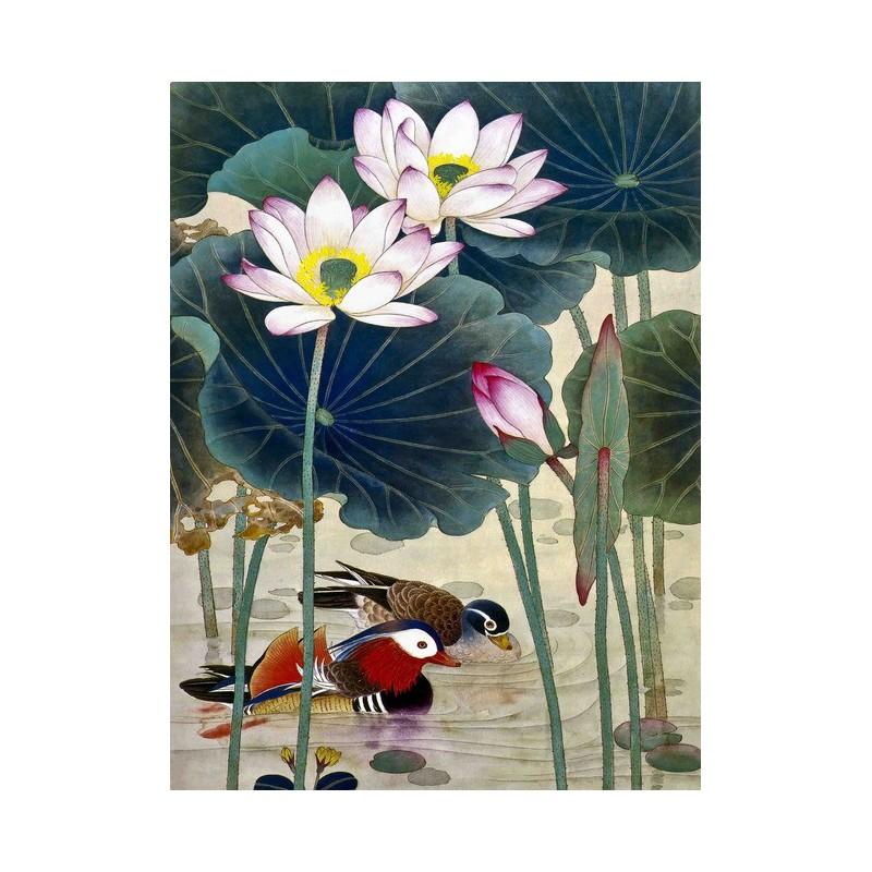tapisserie num rique sur mesure style chinois les canards mandarins dans l 39 tang avec les lotus. Black Bedroom Furniture Sets. Home Design Ideas