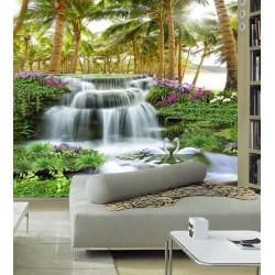 Papier peint photo 3D paysage tropical - Chute d'eau dans la forêt de cocotier