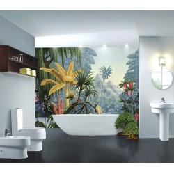 Panneau fresque panoramique ambiance tropicale - Jungle en couleur