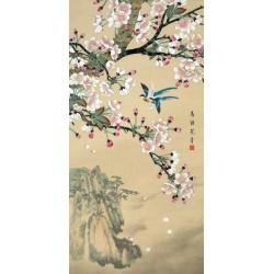 Peinture asiatique zen fleurs et oiseaux format vertical - Paysage avec les fleurs de cerisier et les oiseaux