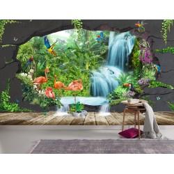 Papier peint tropical trompe l'œil 3D - Les flamants roses et les perroquets dans la jungle - Extension d'espace