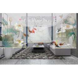 Cloison ambiance d'été : lotus, carpes multicolores, oiseaux d'eau et poème