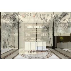 Paysage de la montagne et la rivière avec les bambous en noir et blanc, ton sépia