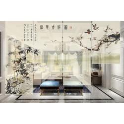 Paysage avec les bambous, orchidées, chrysanthèmes, fleurs et oiseaux, fond beige sépia