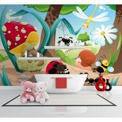 Décoration salle de bain pour enfant mur étanche ludique - Drôles les petites bêtes