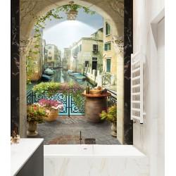 Panneau trompe l'oeil 3D - Canal de Venise vue depuis le balcon