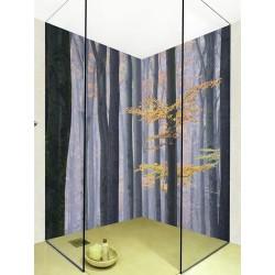 Salle de bains ambiance d'automne - Arbres avec feuilles dorées