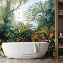 Salle de bains tropicale plantes et fleurs de la jungle  - Arbre du voyageur, oiseau de paradis, orchidée et hélicolia