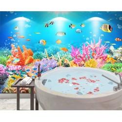 Salle de bains bleue paysage fond marin - Récif corallien multicolore et poissons tropicaux