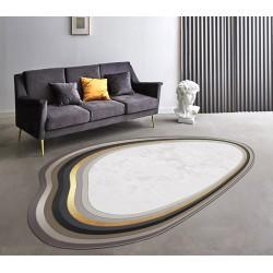Tapis contemporain forme irrégulière couleur beige doré gris marron