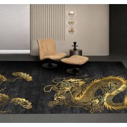 Tapis animaux légendaires - Dragon doré et arbre sur fond noir