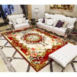 Tapis floral rouge et or motif symétrique - Lys blanc, fleurs de printemps et feuillages