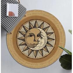 Tapis rond vintage séjour chambre ton marron et sablé - Le soleil et la lune