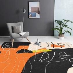 Tapis moderne l'art abstrait couleur chaude - Orange, beige, noir, jaune
