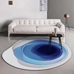 Tapis moderne design abstrait forme ronde irrégulière - Couleur bleue dégradée sur fond gris et blanc