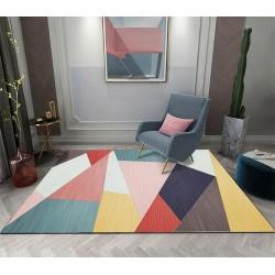 Tapis moderne blocs de couleur - Rose, jaune, rouge, vert, bleu, marron , blanc