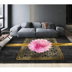 Tapis chic floral ambiance romantique - Dahlia rose sur monogramme et ruban doré, fond noir