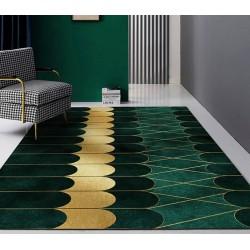 Tapis contemporain vert doré, forme de vague regulière